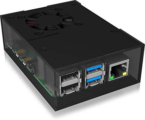 ICY BOX Raspberry Pi 4 Gehäuse mit Lüfter, Kunststoffrahmen mit Aluminium, Kühlkörper, VESA, Schwarz