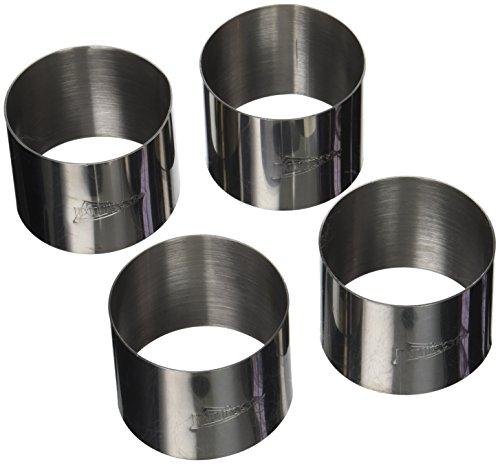 patisse 72096/4 Lot de 4 Cercles à Mousse 7x5.5cm, Acier Inoxydable, Argent, 7 x 7 x 5,5 cm