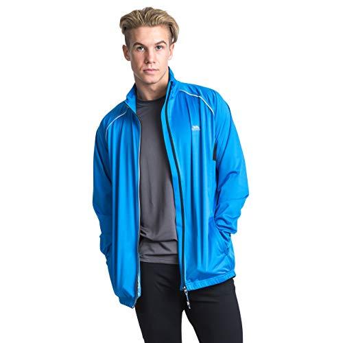 Trespass Blocker, Bright Blue, XXS, Zusammenfaltbare Wasserdichte Sportjacke / Funktionsjacke / Wetterjacke mit Reflektiven Details für Herren, XX-Small / 2XS / 2X-Small, Blau