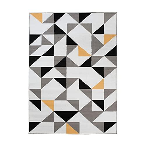 TAPISO Maya - Alfombra Moderna para salón, Color Blanco y Amarillo Abstracto geométrico de Pelo Corto, 80 x 150 cm