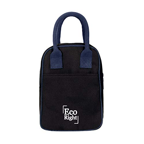 EcoRight Insulated Lunch Bag for Men, Women, Adults for Work | Cooler Lunch Box for Kids to School | Reusable Canvas Lunch Bags for Women | Black | 0703
