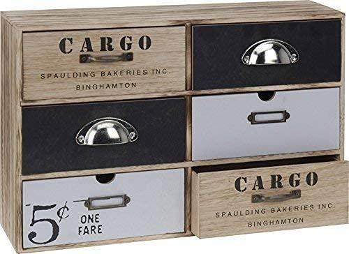 DRULINE Mini Kommode Cargo Schränkchen Aufbewahrungsschrank Beistllschrank mit 6 Schubladen im Shabby Chic Stil aus Holz zur Aufbewahrung   L x B x h 44 x 12 x 30 cm   Natur
