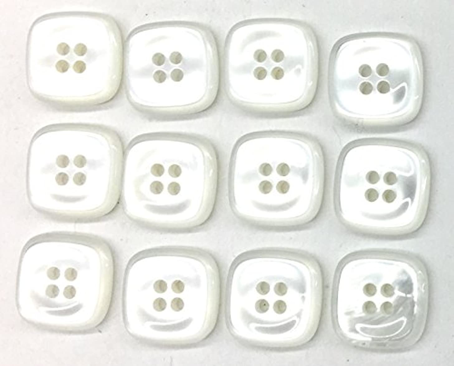 12 White Buttons 4 Hole Square Style Blouse Buttons 1/2'- 13mm or 3/8'' 11mm Shirt Buttons for Dress, Blouses, Shirts (3/8' -11mm)