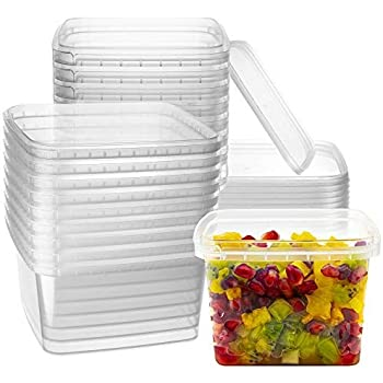16-oz. Square Clear Deli Containers with Lids | Stackable, Tamper-Proof BPA-Free Food Storage Containers | Recyclable Space Saver Airtight Container for Kitchen Storage, Meal Prep, Take Out | 20 Pack