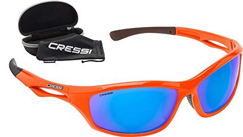 Cressi Unisex– Erwachsene Sniper Sunglasses Sport Sonnenbrillen, Orange/Linsen Verspiegelte Blau, One Size