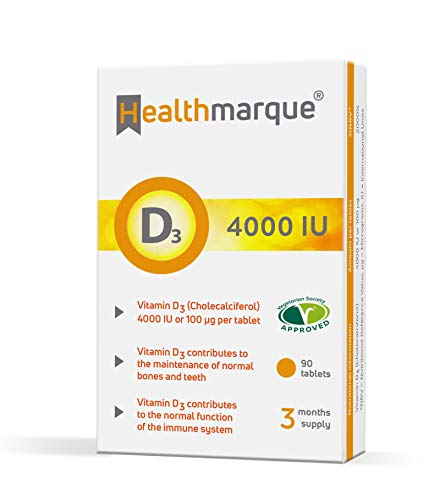 Vitamin D3 Tablets 4000iu 3 Month Supply - Pharmacopoeia Grade Premium D Supplements by Healthmarque UK; 100mcg 90 Tablets not Capsules | Bone, Muscle & Immune Support