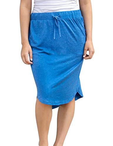wenseny Womens Skirts Knee Length Pencil Skirts Elastic Midi Bodycon Solid Drawstring Daily Dresses Blue M