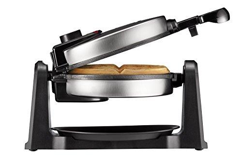 Chefman Rotating Belgian Waffle Maker, 180° Flip Iron w/ Non-Stick Plates, Adjustable Timer, Locking Lid, & Drip Plate, Space Saving Storage, Mess-Free Breakfast, Stainless Steel/Black