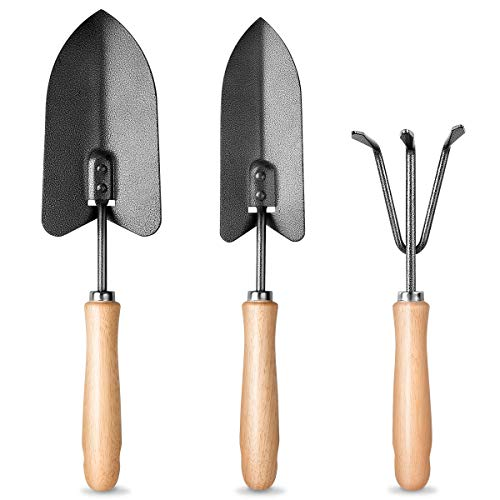 MOSFiATA Garden Tools Set 3 Pcs Garden Tools Kit High Carbon Steel Heavy Duty Gardening Tools Kit Includes Hand Trowel Transplant Trowel and Cultivator Hand Rake All with Ergonomic Handle