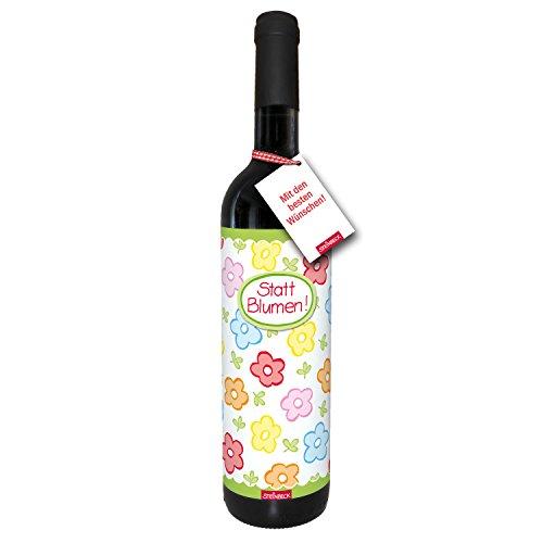 STEINBECK Wein Statt Blumen Geschenk Geburtstag Danke trockener Rotwein aus Spanien 100% Tempranillo Valdepenas Einladung Mitbringsel Essen Frau beste Freundin