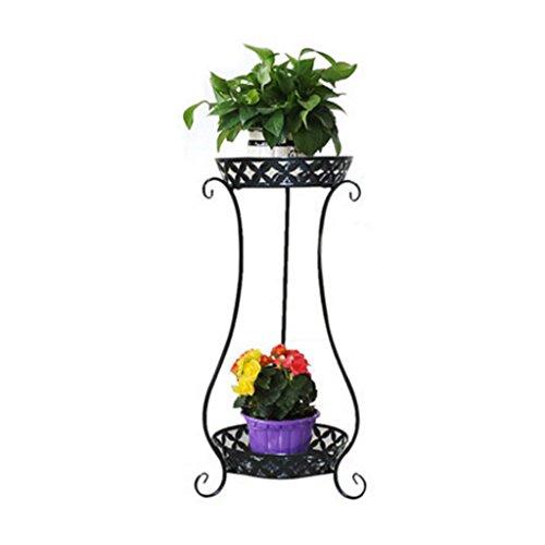 Porte-fleurs Grilles de fleur de fer forgé de style européen, étagère de fleur de salon intérieur de balcon de multi-plancher, armature verte d'usine d'araignée radiante, double conception Support de fleurs ( Couleur : Noir )