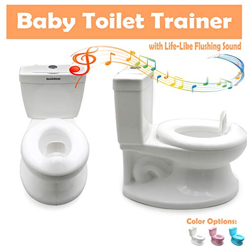 HTTMT- Potty Training Toilet with Life-Like Flush Button & Sound for Toddlers Kids, White (Center Push Flushing) [P/N: ET-BABY004-WHITE]