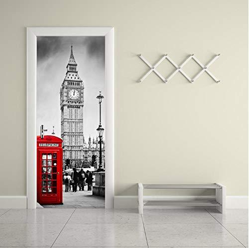 qzheng 3D Door Sticker Mural Art Wallpaper London Scene...