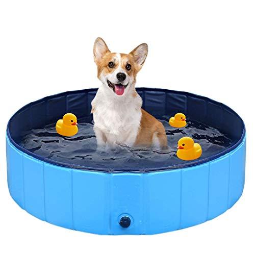 FayTun Hundepool Swimmingpool, haltbare PVC-Haustier-Badewanne, rutschfest, für drinnen und draußen, faltbare Haustier-Badewanne für kleine Hunde (20 cm x 80 cm)