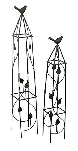 Set of 2 Birds Design Metal Decorative Garden Trellis Climbing Plant Rose Support Obelisk