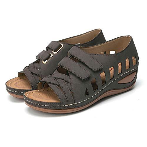 Nuevos Zapatos De Mujer Sandalias De Cuña Huecas De Gran Tamaño Con Velcro Verano Nueva Luz Inferior Gruesa Y Cómodos Zapatos De Playa Bohemios De Playa De Gran Tamaño Antideslizantes