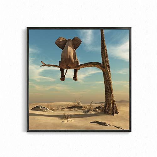 Lustiger Elefant auf Baum Leinwand Malerei Wandkunst Bilder Poster und Drucke Wohnkultur Kinderzimmer Dekor 50x50 CM