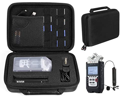 Professional Portable Recorder Case with DIY foam inlay for ZOOM H1, H2N, H5, H4N, H6, F8, Q8 Handy Music Recorders, Charger, Mic Tripod Adapter and Accessories (Polyester Black)