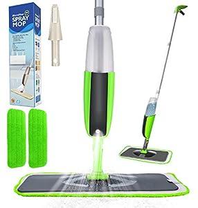 Aiglam Spray Mop, Mopa con pulverizador Limpiador de Ventanas y Escoba Barredora de Empuje Manual con Almohadilla de Microfibra Reutilizable para Suelos laminados, alicatados y de Madera (Verde)
