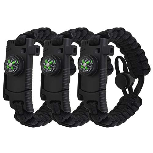 Adjustable Paracord Bracelet 3Pack Multifunctional Tactical Bracelet Survival Gear Kit with Embedded Compass Fire Starter Emergency Knife amp Rescue Whistle for Outdoor Hiking Camping 3 Black