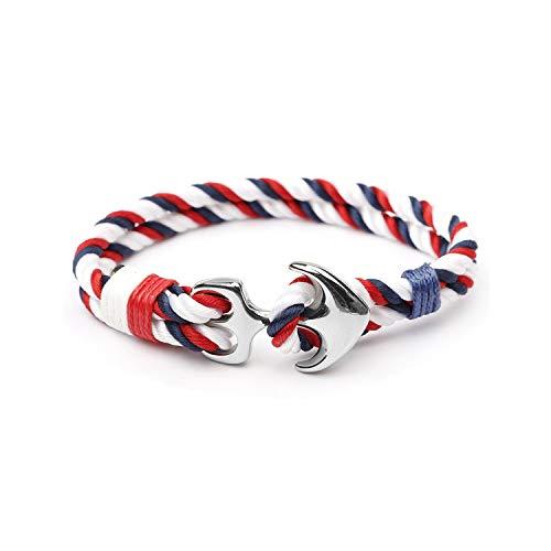 2019 New Fashion Black Color Anchor Bracelets Men Charm Survival Rope Chain Paracord Bracelet Wrap Metal,A22