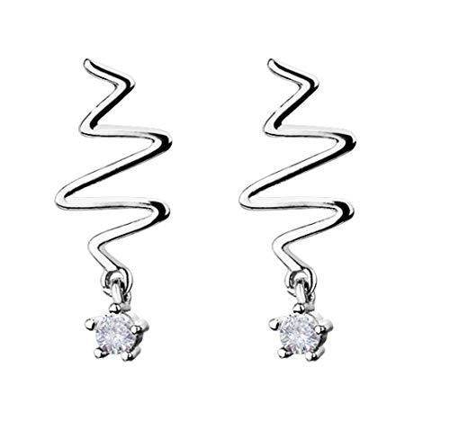 Ohrringe Wilden Persönlichkeit Ohrringe Kreative Blitzwellenfrequenz Von 925 Sterling Silber Herz Ohrringe Art Deco / S925 / 15X8mm