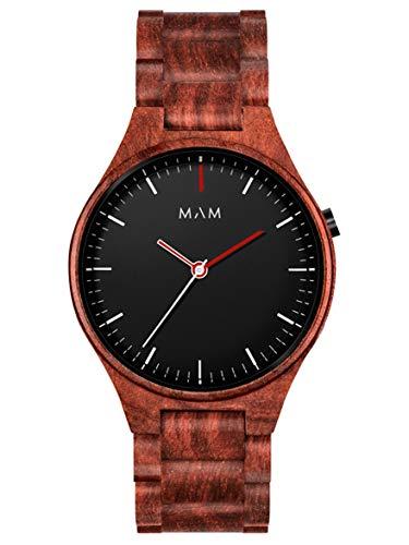 Reloj MAM Volcano 697, para Hombre de Madera de Sándalo, con Esfera Negra.