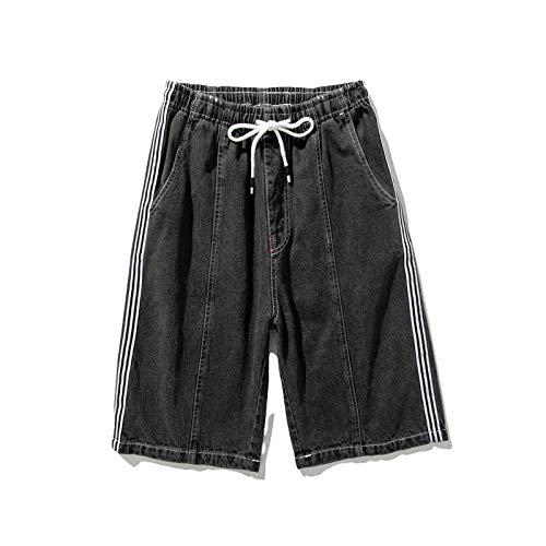 Pantalones Cortos de Mezclilla para Hombre, Tendencia de Verano, Pantalones Cortos de Mezclilla Informales de Pierna Ancha Holgados Retro, Pantalones Vaqueros de Talla Grande con Cintura elástica 8XL