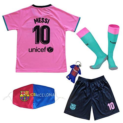 Messi #10 Barcelona Third 2020/2021 Season Kids Youth Sport T-Shirts & Shorts & Socks (10-11Years/Size28) Pink