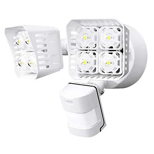 Sansi Foco LED con Sensor de Movimiento 30w 3400lm 5000K Iluminación de Seguridad con PIR Detector, Luz Exterior Pared Jardin Cuadrado Negro