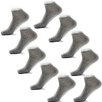 (アシュネル) Ashuneru 靴下 メンズ ショートソックス くるぶし ソックス スニーカーソックス アンクルソックス 抗菌防臭加工 25cm〜27.5cm 10足セット 夏用 (ライトグレー)