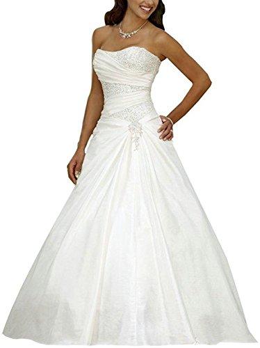 Brautkleid Hochzeitskleider Lang Prinzessin Damen Satin A Linie Falten mit Pailletten Weiß EUR40