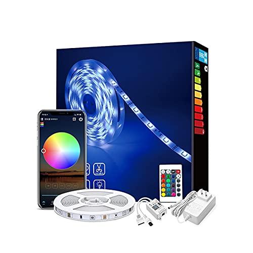 MINGRT Tira Led Exterior Impermeable, Con Control Remoto Y APP Controladas LED Strip, Temporizador, Wifi Tira LED Música Para Habitación Techo Fiesta (Color : 5m)