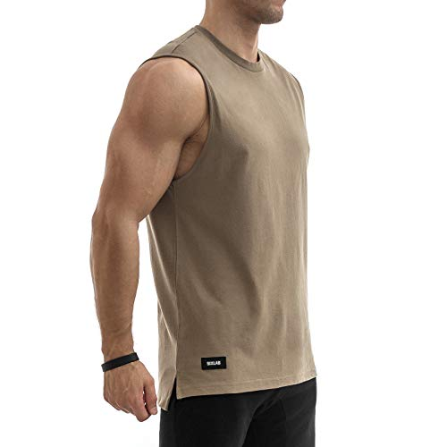 Sixlab Side Split Muscle Tank Top Herren Fitness Shirt Gym (XL, Braun)