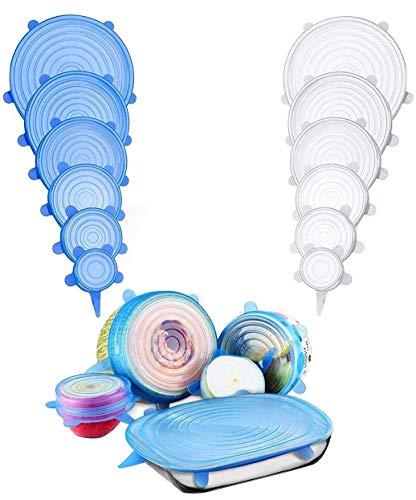 Bason Silikon-Deckel, Phyles 6 Stück, dehnbare Deckel aus Silikon, wiederverwendbar, Universaldeckel, Lebensmittelschutz, geeignet für Mikrowelle / Backofen / Kühlschrank
