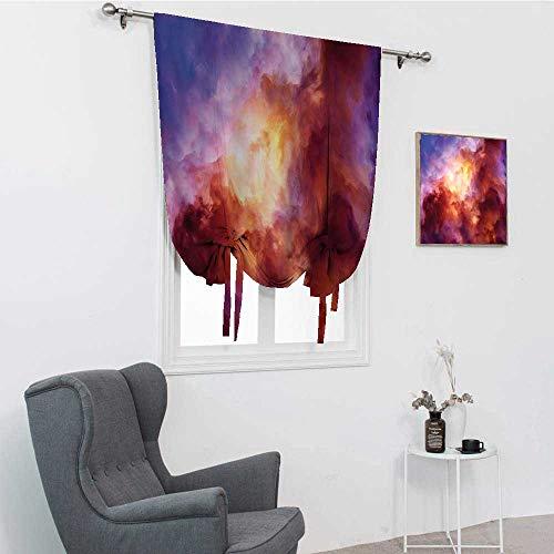 GugeABC Cortinas opacas espaciales, surrealistas coloridas nubes de tormenta dramática creación mística nacimiento de las estrellas, diseño de globo, rojo rosa amarillo, 35 pulgadas x 64 pulgadas