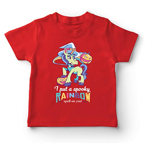 lepni.me Camiseta para Nio/Nia Bruja Unicornio: te puse un Hechizo Espeluznante de Arco Iris! Festividad de Todos los Santos (1-2 Years Rojo Multicolor)