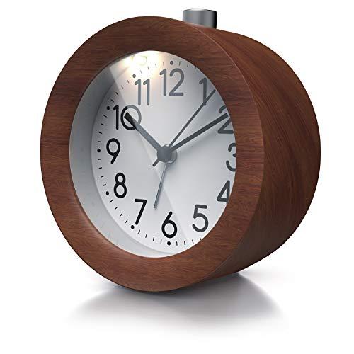 Bearware - Réveil analogique silencieux en bois composite - Horloge à aiguilles classique - Ø 10 cm - réveil mécanique de voyage - Fonctions heure alarme snooze lumière - Design élégant rond vintage
