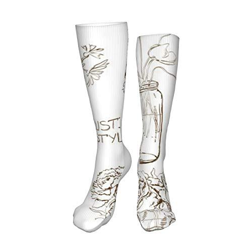 ZVEZVI Juego de tarros de albañil con calcetines de compresión de 19,8 pulgadas, botas altas, medias, manguera larga para caminar en yoga para mujeres y hombres