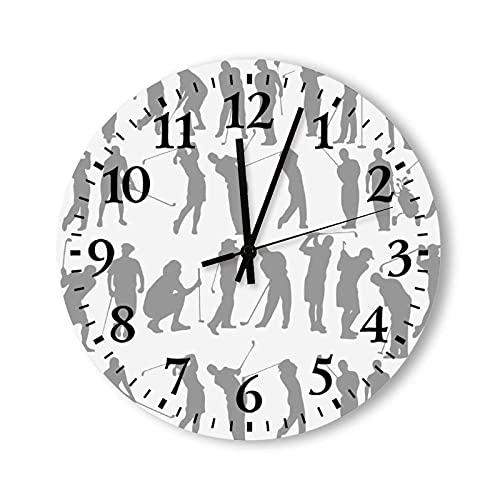 Wanduhr, stille und Nicht tickende Wanduhr, Golfschaukel in vierzehn Stufen Gezeigt Graues Muster Leicht zu lesende Uhr