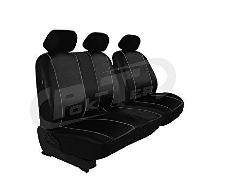 POK-TER-BUS Für T6 in Kunstleder Schwarz. Modellspezifischer Sitzbezug Fahrersitz + 2er Beifahrersitzbank 1+2 (Ohne Multivan und Ohne Caravelle)