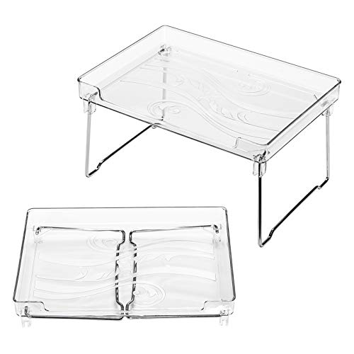 Ettori Stackable Cabinet Organizers and Storage 2 Packs Cabinet Storage Organization Clear Cabinet Shelves and Kitchen Counter Shelf- Translucent Plastic and Metal