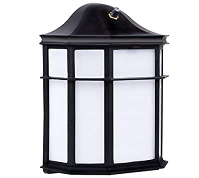 LED 12W Wall Pack Light - Dusk to Dawn Photocell Included - 3000K (Warm White) Wall Mount Lantern Fixture, Exterior Security Lighting, Garage, Garden, Yard