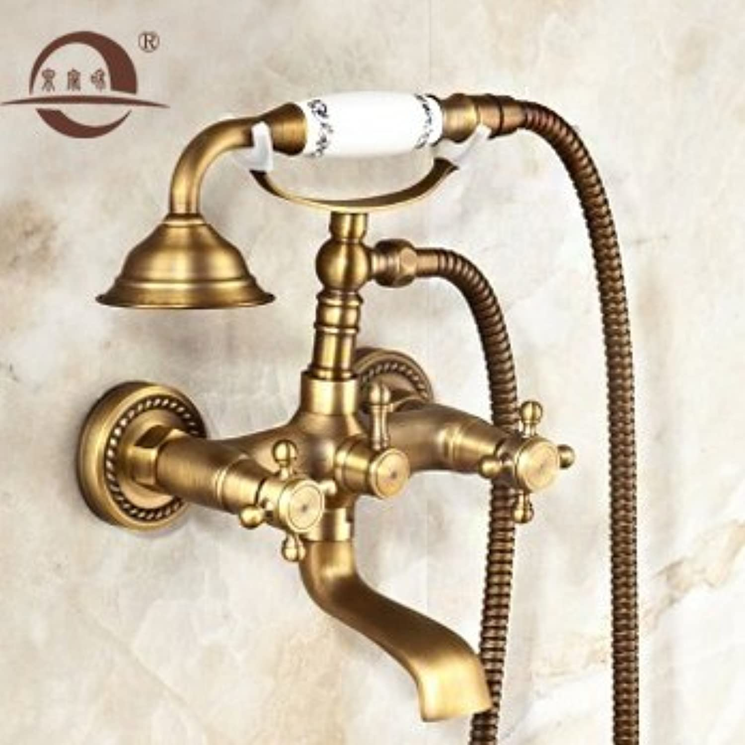 NewBorn Faucet Kitchen Or Bathroom Sink Mixer Tap Antique Easy Shower Full Copper Booster Sprinklers Set Three S, Hot And Cold Bath Water Tap Shower Water Tap Single