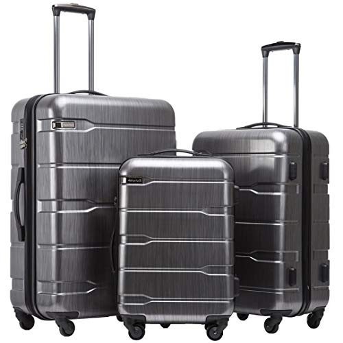 3 Piece Set Suitcases Travel Luggage Rolling Luggage Bags On Wheels Travel Wheeled Suitcase Trolley Bags Black