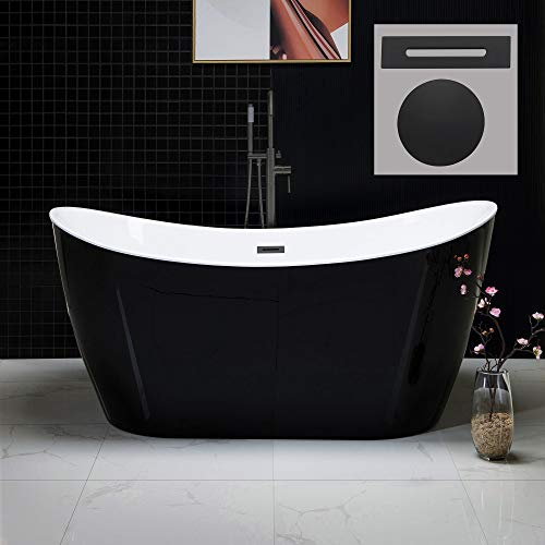 WOODBRIDGE B1816 MB-Drain &O Bathtub, Matte Black