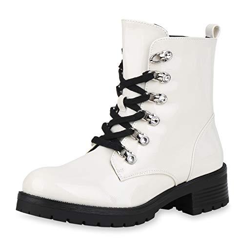 SCARPE VITA Damen Stiefeletten Worker Boots Leicht Gefütterte Lack Schuhe Schnürer Profilsohle Schnürstiefeletten Strass 186799 Weiss Lack 38