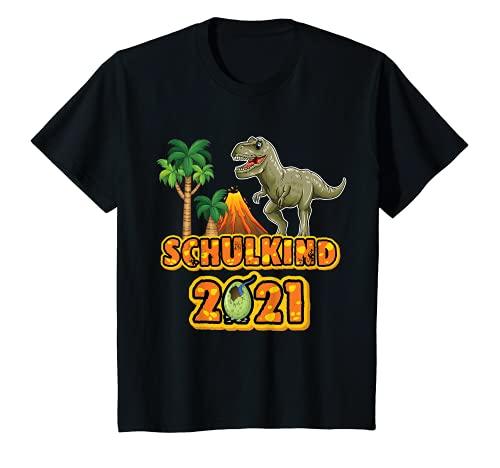 Kinder Dino Dinosaurier Einschulung Schulkind 2021 Schultüte Junge T-Shirt