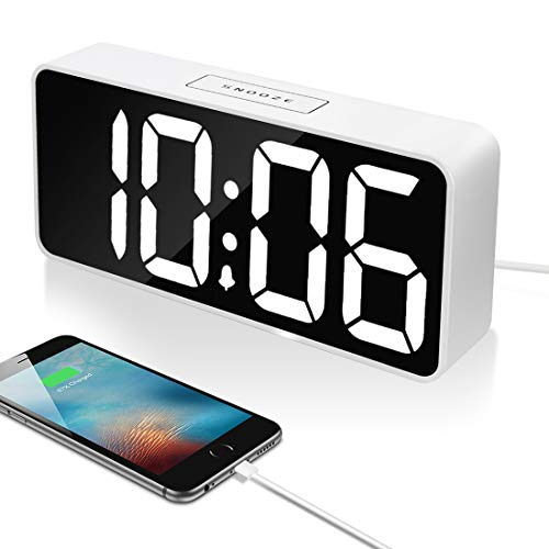 9' Large LED Digital Alarm Clock with USB Port for Phone Charger, 0-100% Dimmer, Touch-Activated Snooze, Outlet Powered (White)