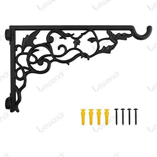 ALLQT Wall Hanging Plant Bracket, 13 Inch Retro Outdoor Indoor Garden Hook Décor Wrought Iron Decorative Plant Brackets for Balcony Bird Feeder Wind Chime Lantern, with Screws Black